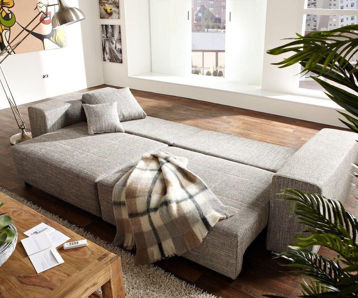 Big Sofa Xxl Marbeya 290x110 Hellgrau Hocker Schlaffunktion Möbel