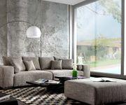 Couch Marbeya Hellgrau 290x110 cm mit Schlaffunktion Hocker [6248]