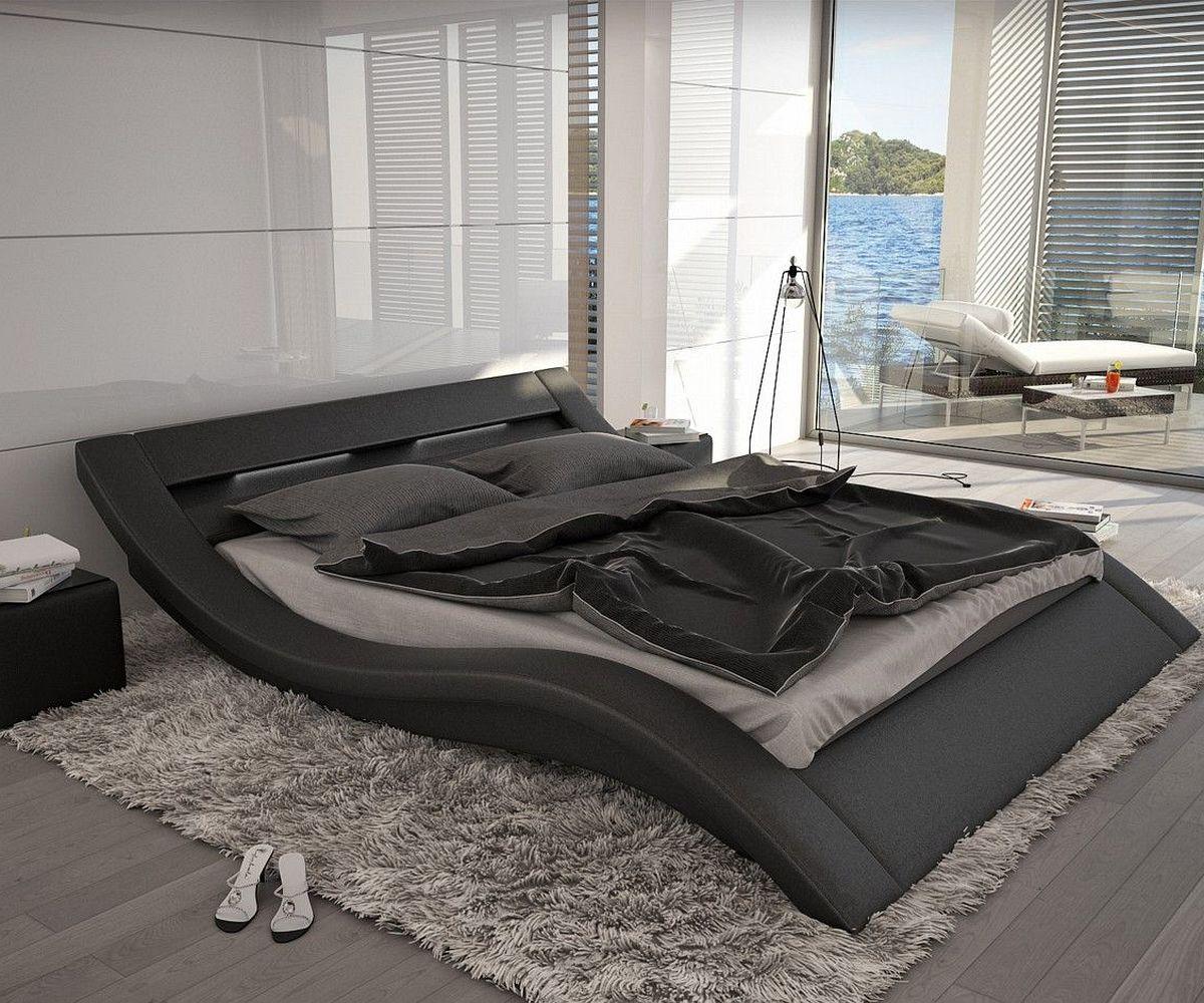 bett leonas schwarz 140x200cm design polsterbett mit. Black Bedroom Furniture Sets. Home Design Ideas