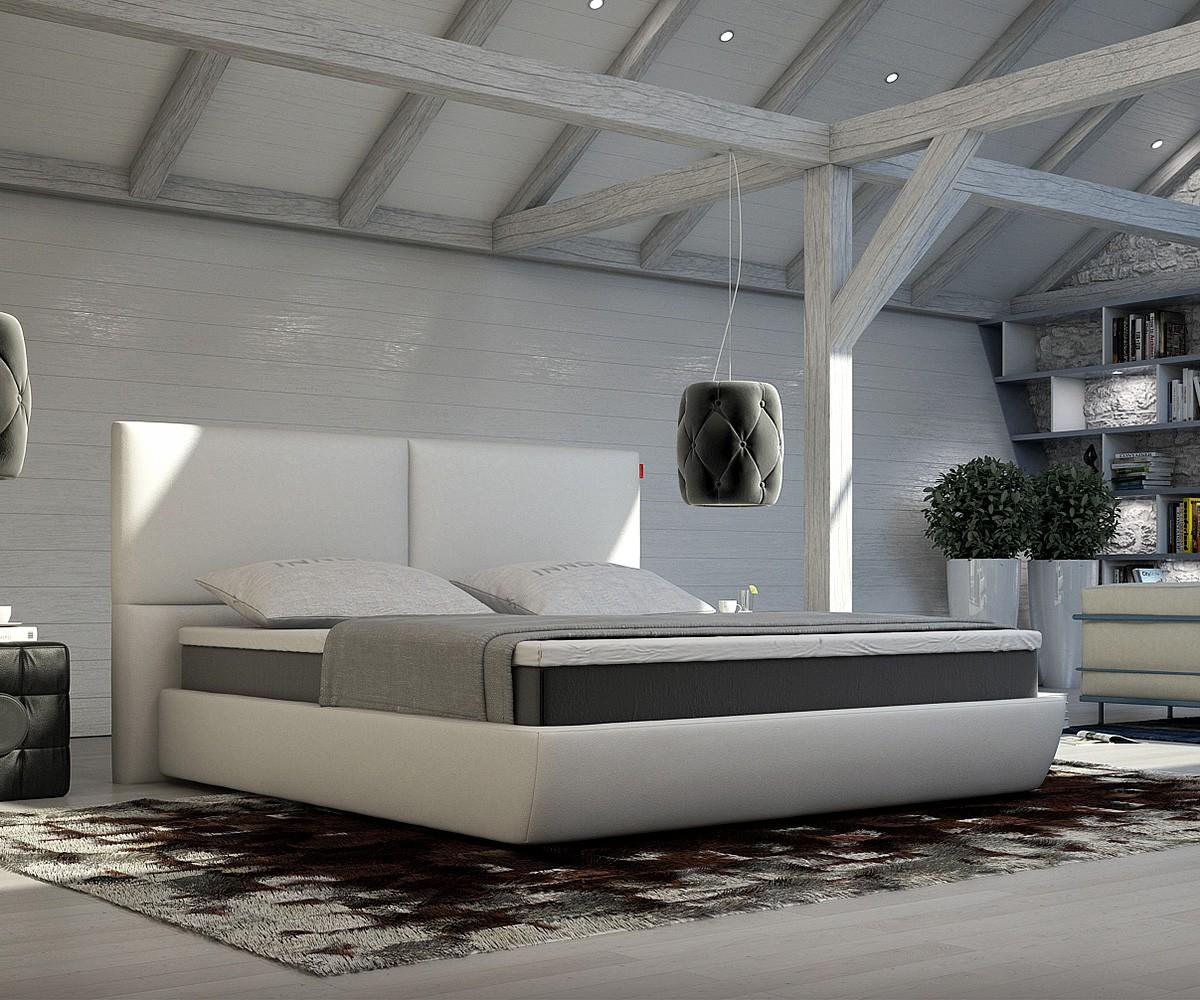 Bett weiß modern  Bett Yumah Weiss 180x200 cm mit Topper und Matratze Boxspringbett