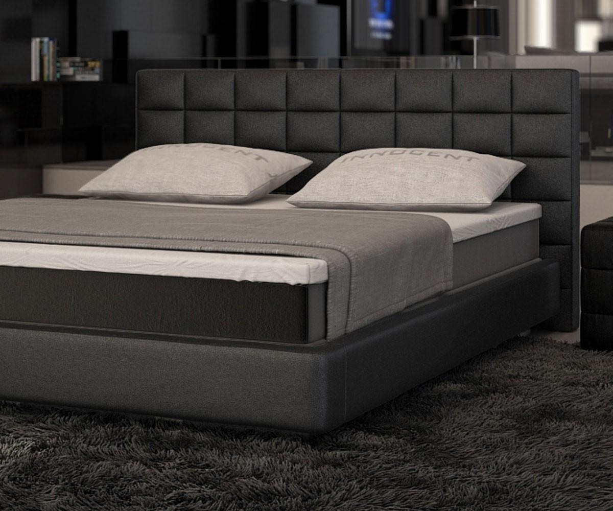 bett junis schwarz 180x200 cm mit topper und matratze boxspringbett. Black Bedroom Furniture Sets. Home Design Ideas