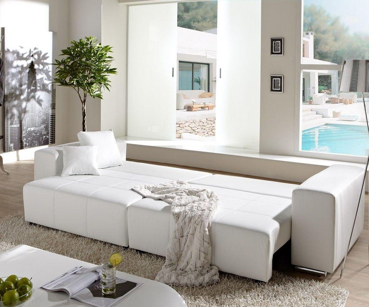 Big Sofa Marbeya 290x110cm Weiss Mit Schlaffunktion Mobel Sofas Big