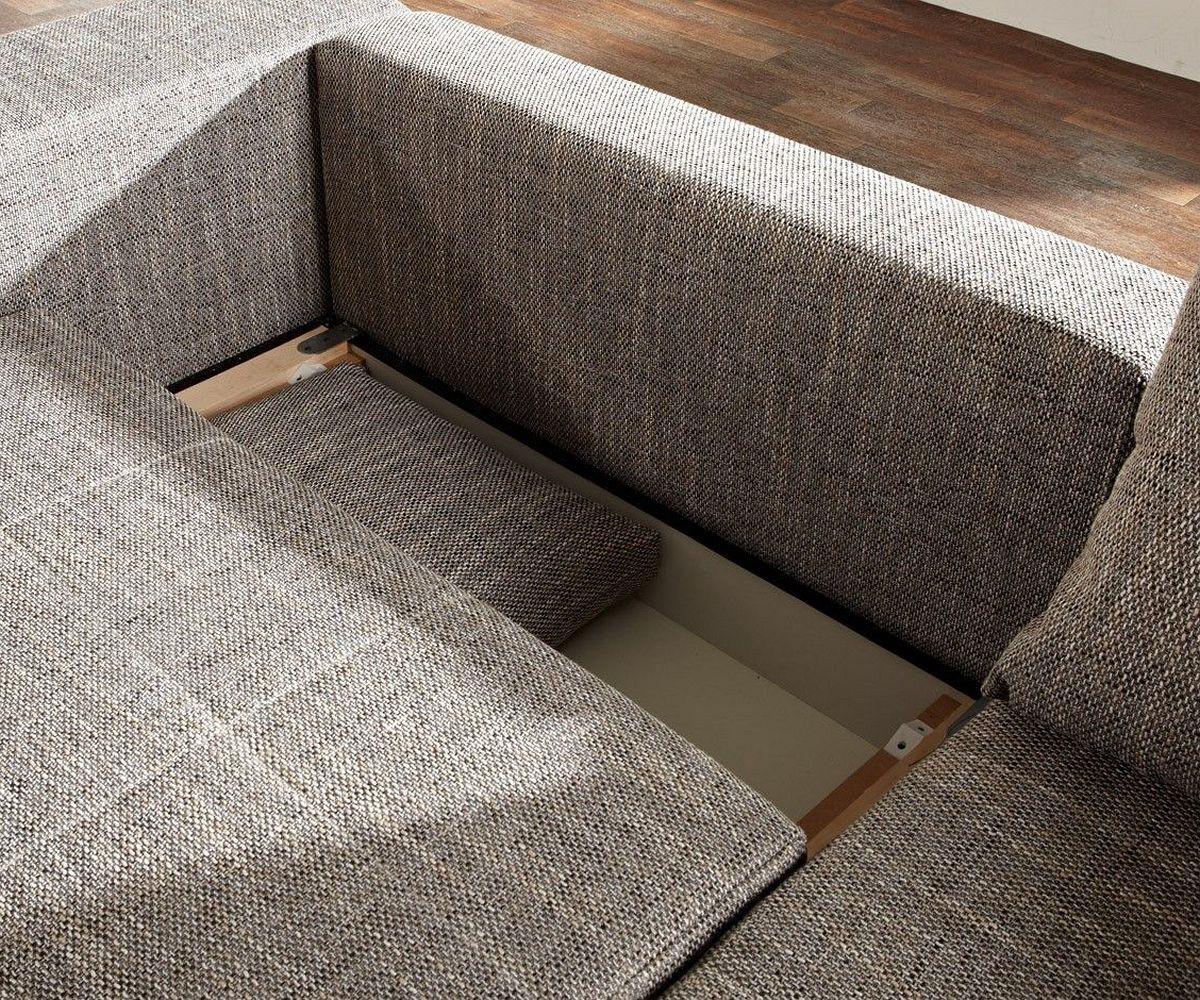 big sofa marbeya 290x110 cm hellgrau mit schlaffunktion. Black Bedroom Furniture Sets. Home Design Ideas