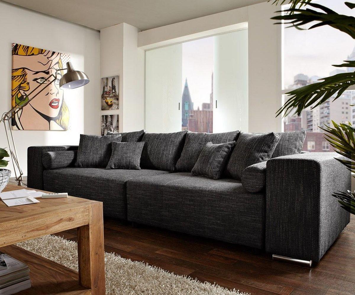 DELIFE Big-Sofa Marbeya 290x110 Schwarz mit Schlaffunktion, Big Sofas