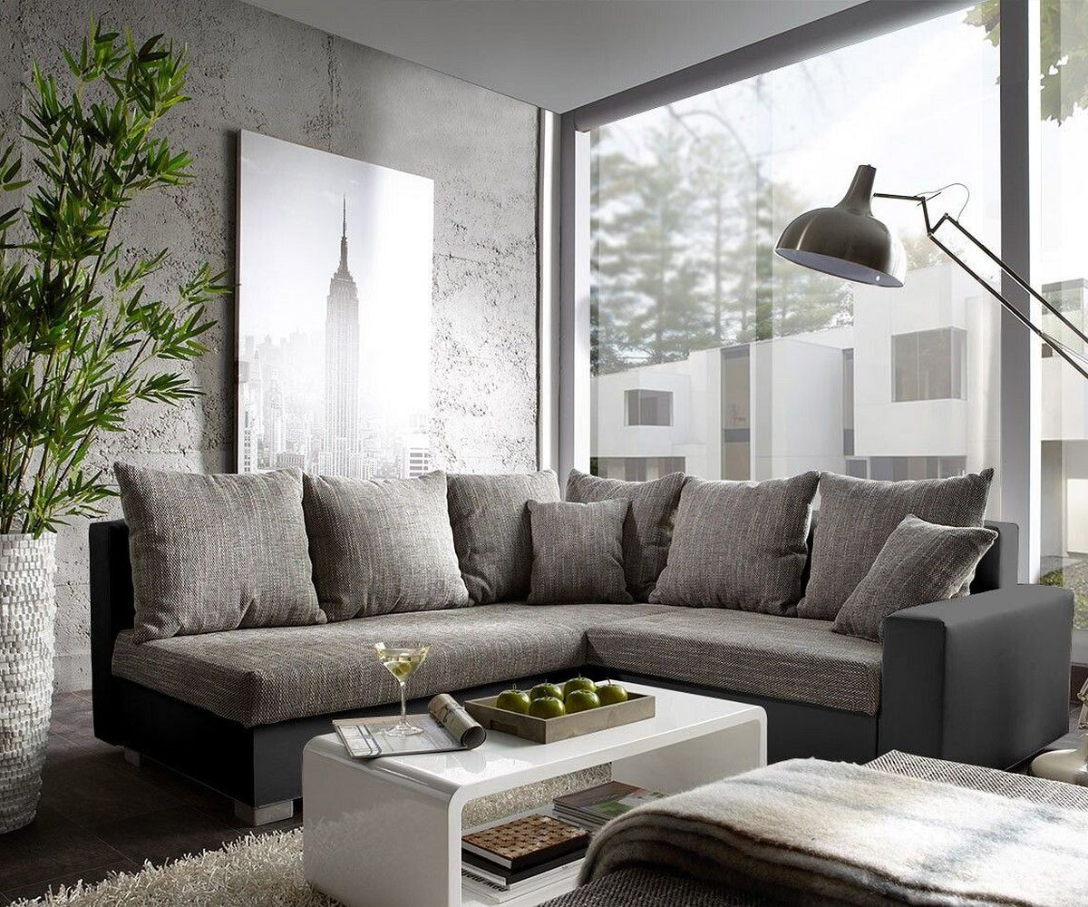 couch lavello schwarz grau 210x210 ottomane links mit hocker ecksofa by delife ebay. Black Bedroom Furniture Sets. Home Design Ideas