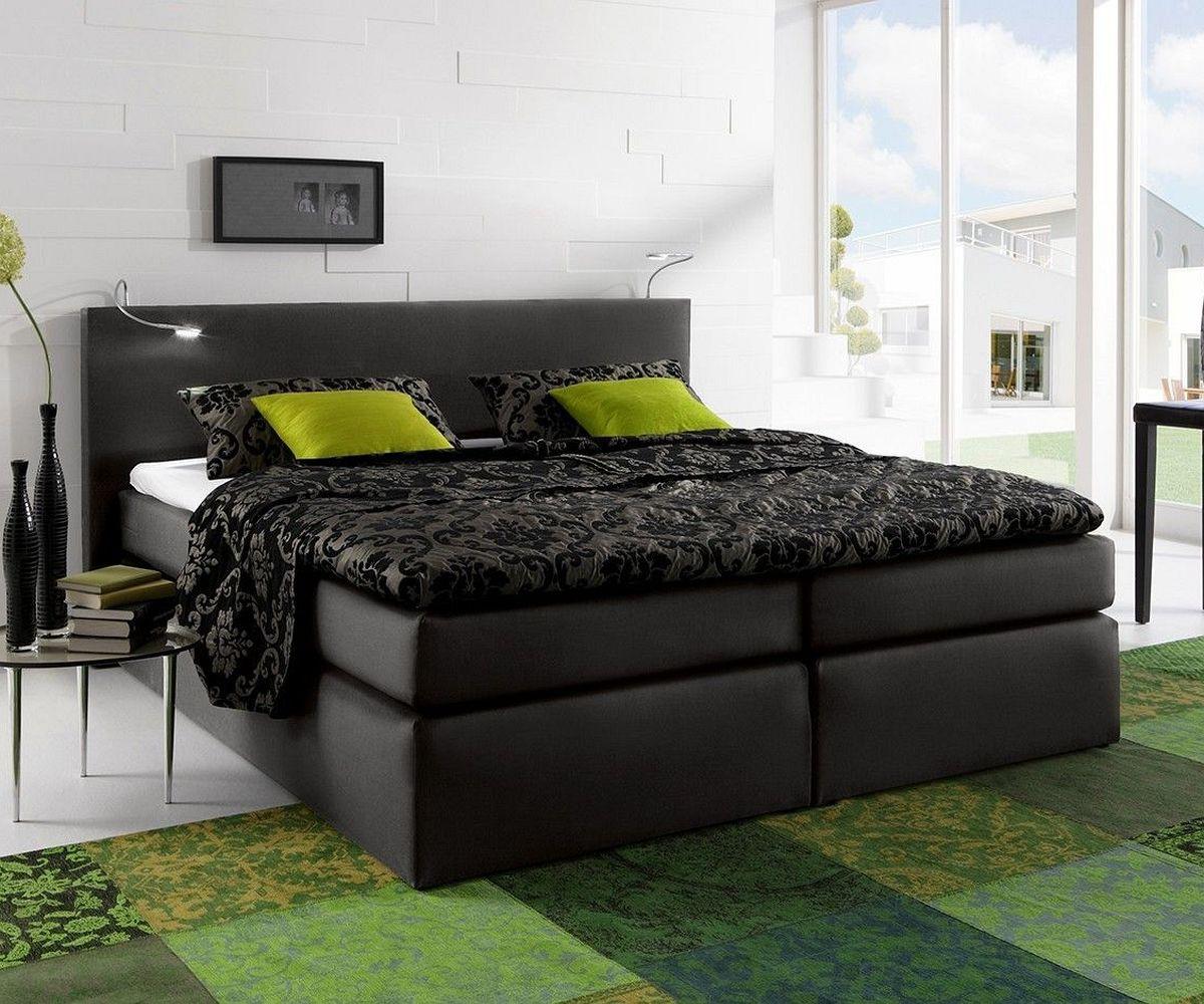 boxspringbett schwarz 180x200, boxspringbett alan 180x200 schwarz matratze und topper möbel betten, Design ideen