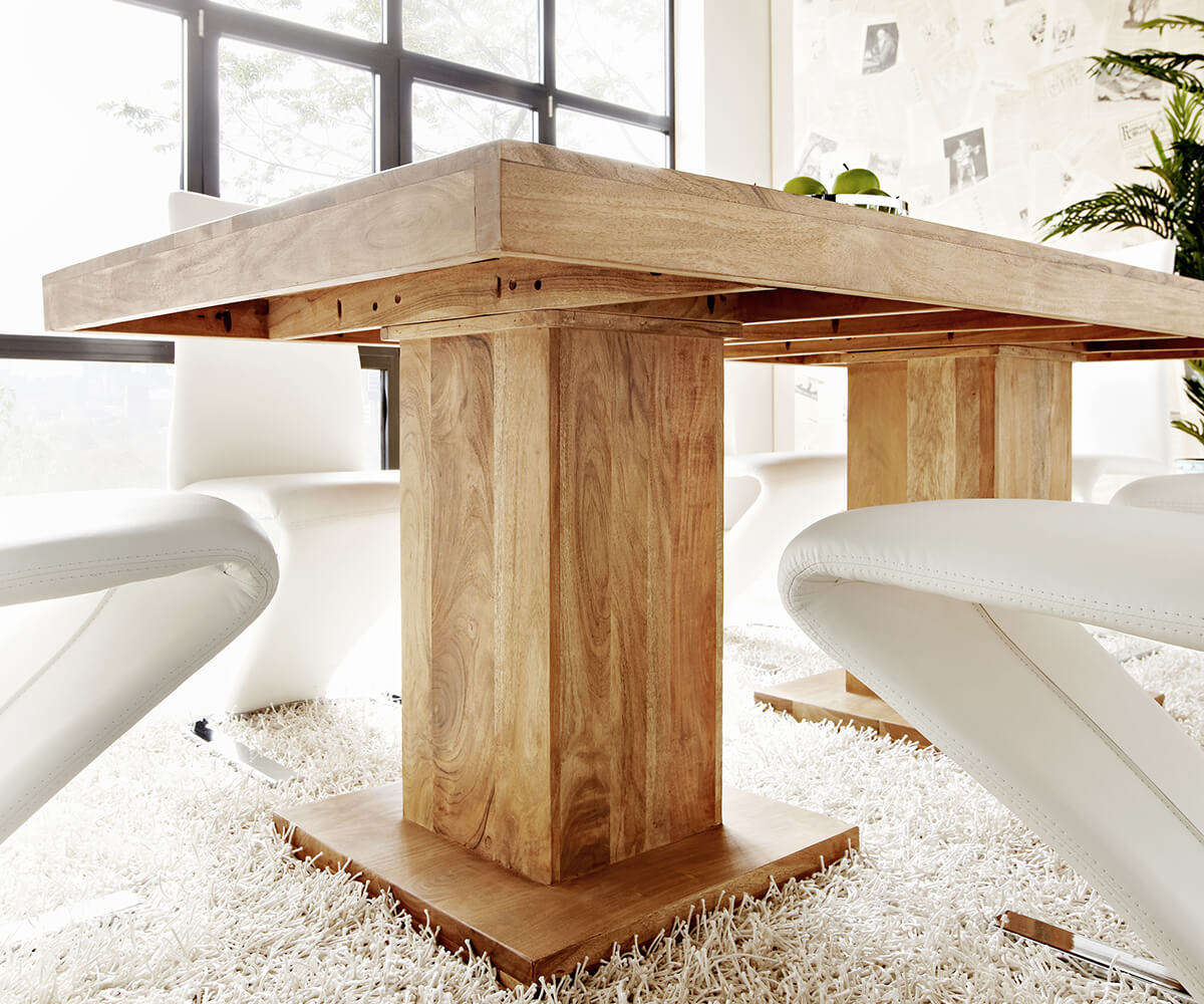 esstisch indra akazie natur 200x100 massiv s ulentisch. Black Bedroom Furniture Sets. Home Design Ideas