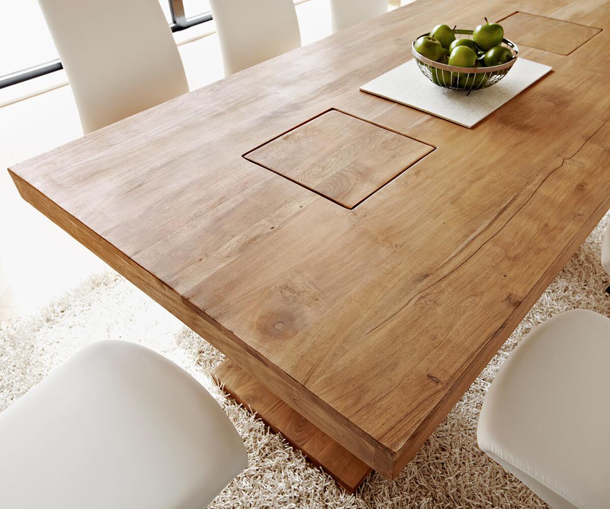 esstisch indra akazie natur 200x100 massiv s ulentisch m bel tische esstische. Black Bedroom Furniture Sets. Home Design Ideas