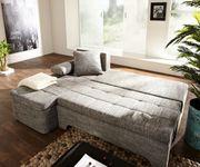 Couch Juline Grau 200x155 mit Schlaffunktion Ottomane variabel Ecksofa [6814]