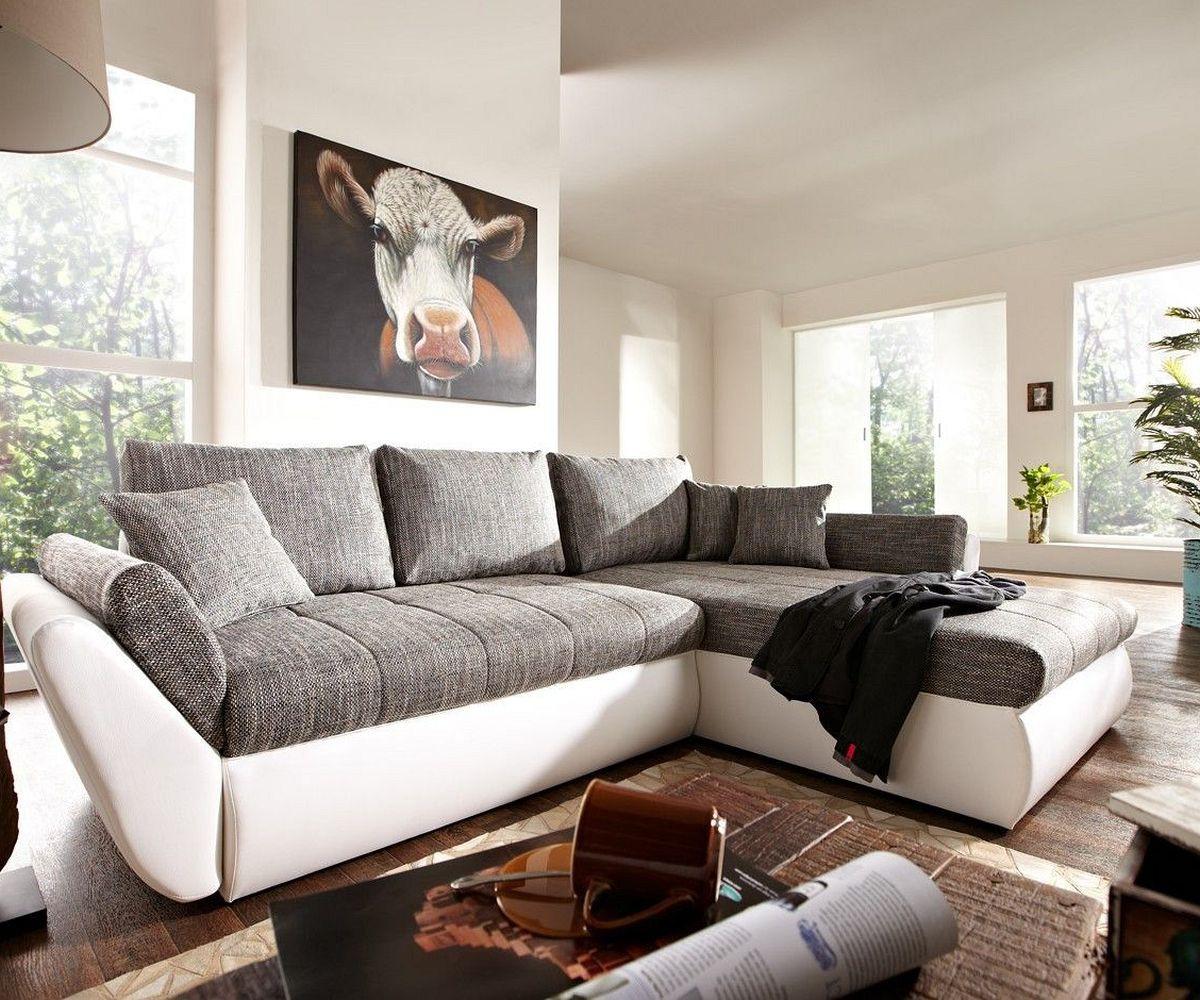 ecksofa loana 275x185 weiss grau schlaffunktion variabel. Black Bedroom Furniture Sets. Home Design Ideas