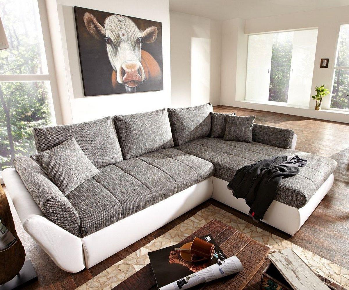 couch loana weiss grau 275x185 cm schlaffunktion ottomane variabel. Black Bedroom Furniture Sets. Home Design Ideas
