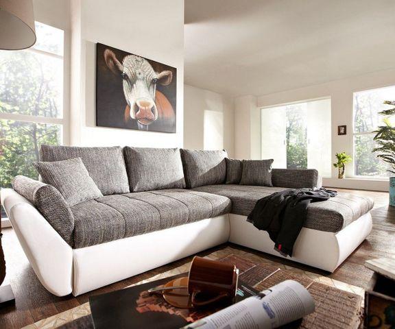 Hoekbank Loana 275x185 wit grijs variabel slaapfunctie 1