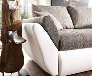 Couch Loana Weiss Grau 275x185 cm Schlaffunktion Ottomane variabel [6820]