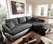 Couch Loana Schwarz 275x185 Schlaffunktion Ottomane variabel Ecksofa [6821]