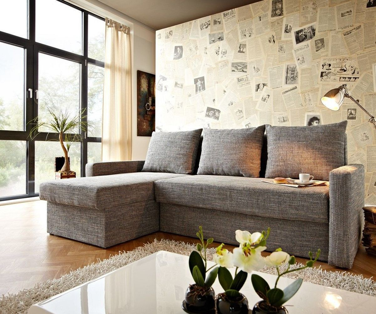 couch avondi hellgrau 225x145 mit bettkasten ottomane. Black Bedroom Furniture Sets. Home Design Ideas