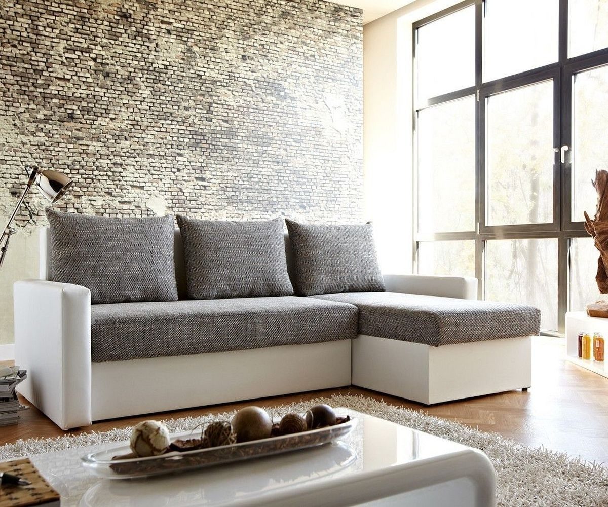 couch avondi weiss grau 225x145 bettkasten ottomane variabel ecksofa by delife ebay. Black Bedroom Furniture Sets. Home Design Ideas