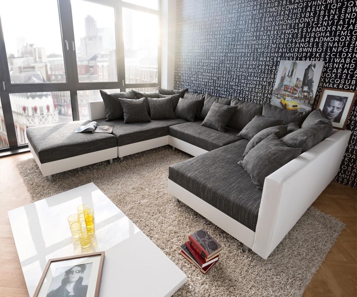 wohnlandschaft clovis weiss schwarz modular mit hocker m bel sofas wohnlandschaften. Black Bedroom Furniture Sets. Home Design Ideas
