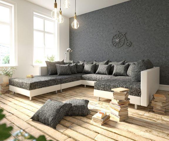 Woonlandschap Clovis zwart en wit modulaire met hocker 1