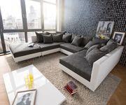 Couch Clovis Weiss Schwarz mit Hocker Wohnlandschaft Modulsofa [8014]