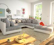 Couch Clovis Weiss Hellgrau mit Hocker Wohnlandschaft [8015]
