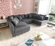 Couch Clovis Schwarz Strukturstoff mit Hocker Wohnlandschaft modular [8017]