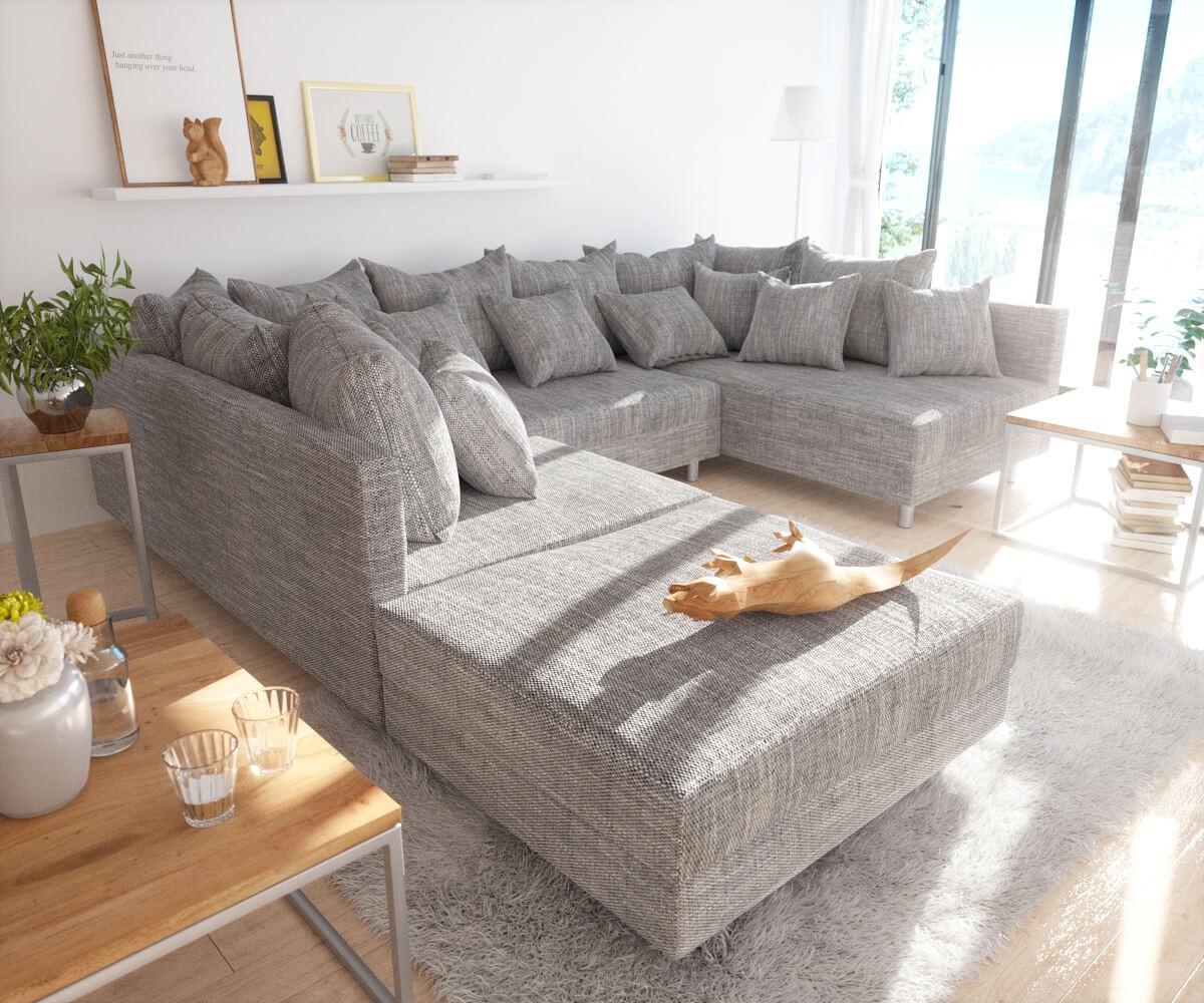 couch clovis hellgrau strukturstoff mit hocker. Black Bedroom Furniture Sets. Home Design Ideas
