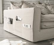 Big Sofa Noelia Elfenbeinfarben 240x145 cm mit Kissen Hussensofa Sofa Couch  [8023]
