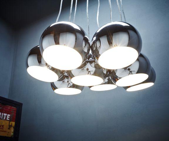 Hanglamp Pentola 55 cm chroom zilver 8 schermen 1