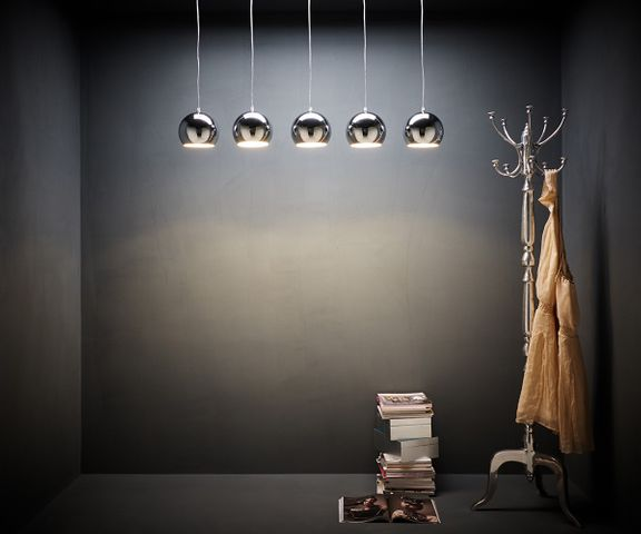 Hanglamp Pentola 115 cm chroom zilver 5 schermen  2