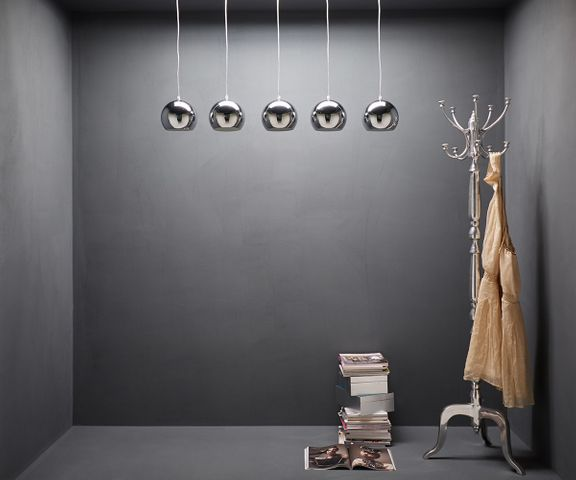 Hanglamp Pentola 115 cm chroom zilver 5 schermen  1