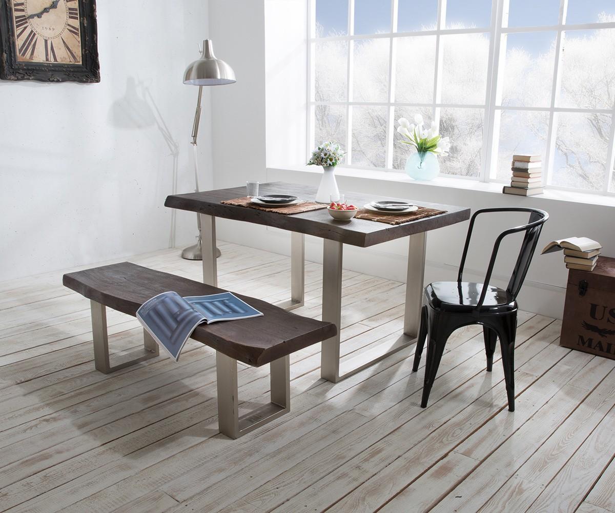 baumtisch live edge 200x100 akazie tabak platte 5 5cm. Black Bedroom Furniture Sets. Home Design Ideas
