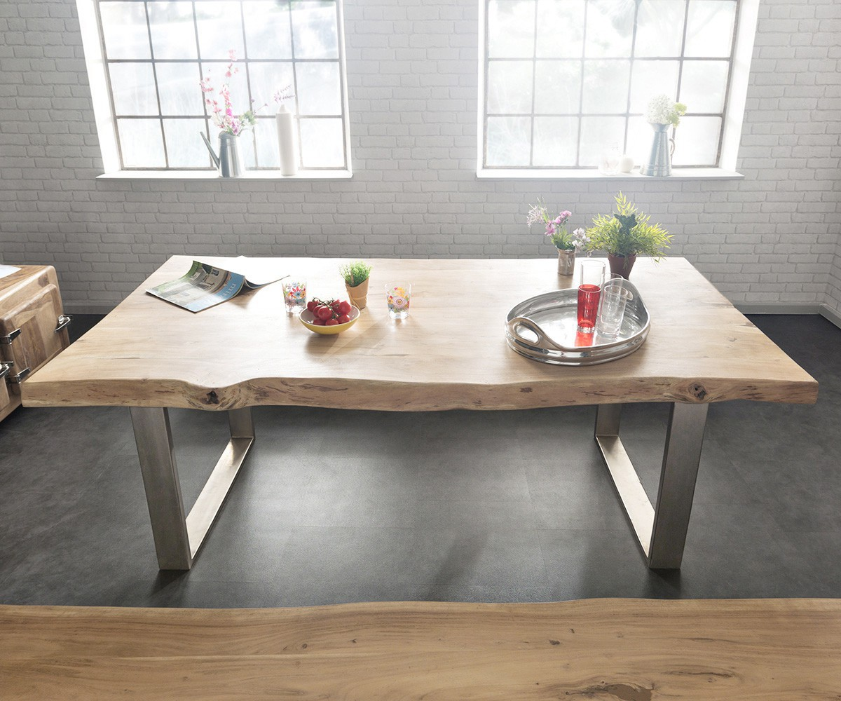 massivholztisch live edge akazie gebleicht 300x100 platte 5 5cm gestell schmal ebay. Black Bedroom Furniture Sets. Home Design Ideas