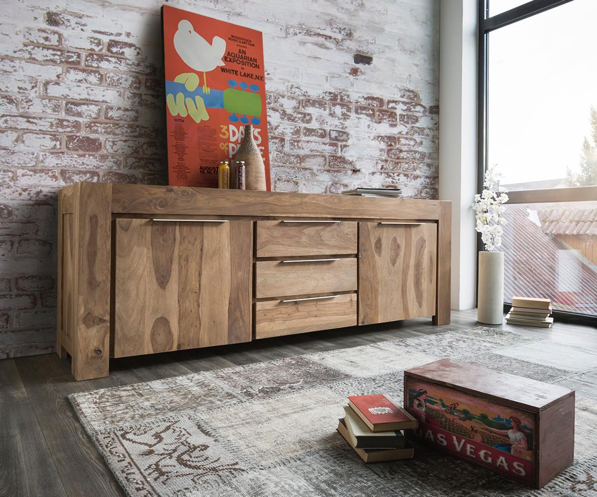sideboard blokk 220 cm sheesham natur 2 t ren massiv m bel kommoden schr nke sideboards. Black Bedroom Furniture Sets. Home Design Ideas