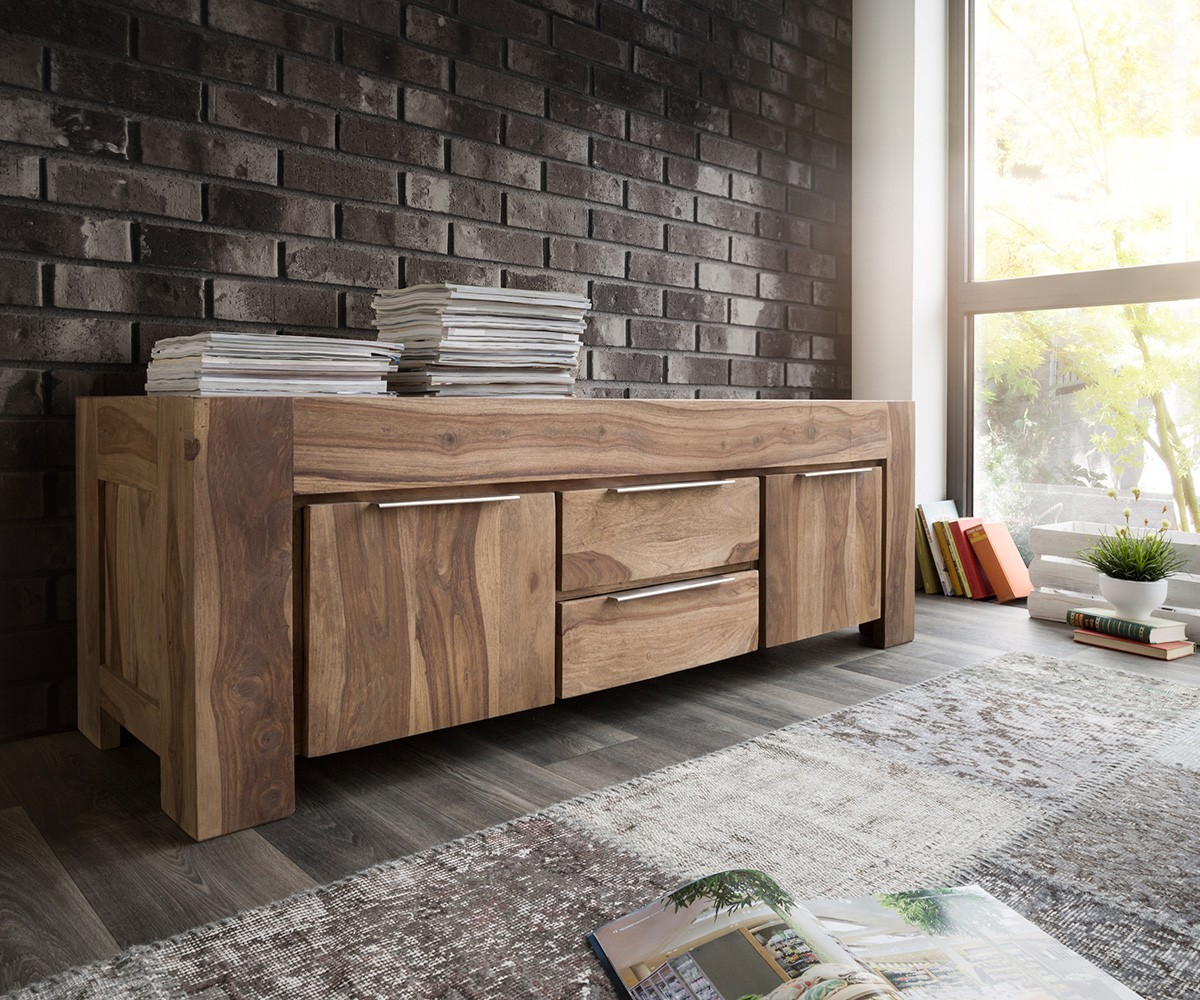 lowboard blokk 160 cm sheesham natur massiv 2 t ren m bel tische fernsehtische. Black Bedroom Furniture Sets. Home Design Ideas