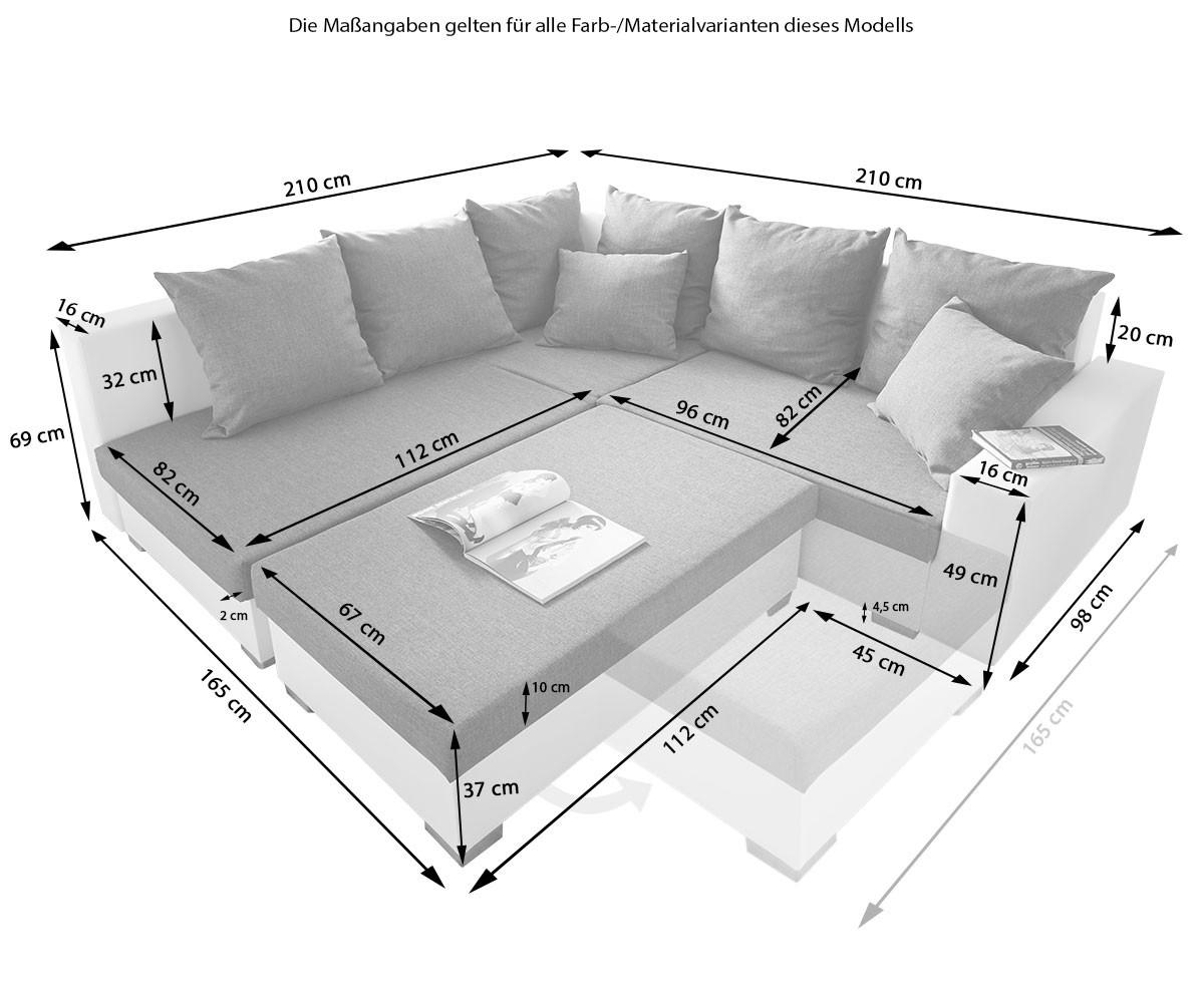 Couch Lavello Braun 210x210 Antik Optik Ottomane Links Hocker Ecksofa