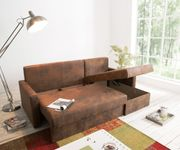 Couch Avondi Braun 225x145 Antik Optik Schlaffunktion Ottomane variabel [8724]