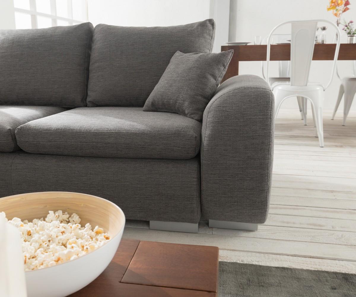 Couch Maxie Grau 330x178 Cm Schlaffunktion Ottomane Links Ecksofa