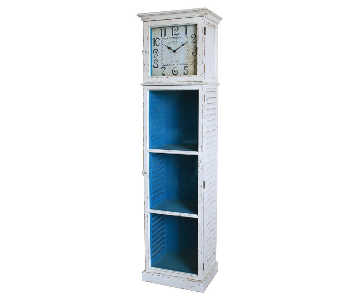 Standuhr Limio 50x195 Weiss Blau Glastür Mit 2 Ablagen, Standregale