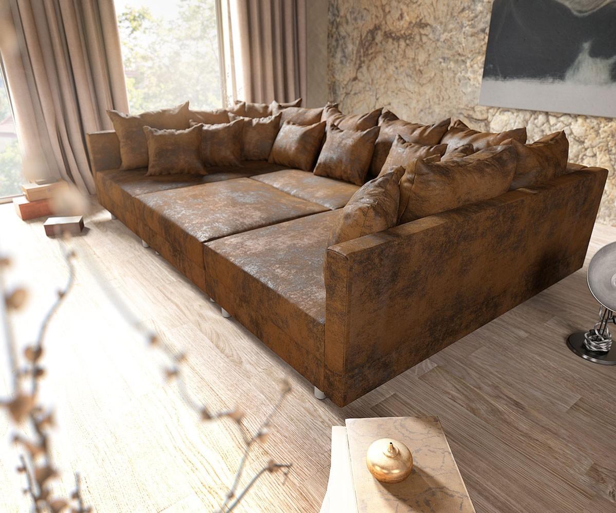 couch clovis braun antik optik mit hocker wohnlandschaft. Black Bedroom Furniture Sets. Home Design Ideas