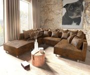 Couch Clovis Braun Antik Optik mit Hocker Wohnlandschaft Modulsofa [9504]