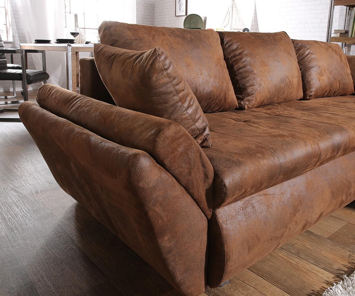 Ecksofa rustikal  Ecksofa Loana 275x185 cm Braun mit Schlaffunktion Möbel Sofas Ecksofas