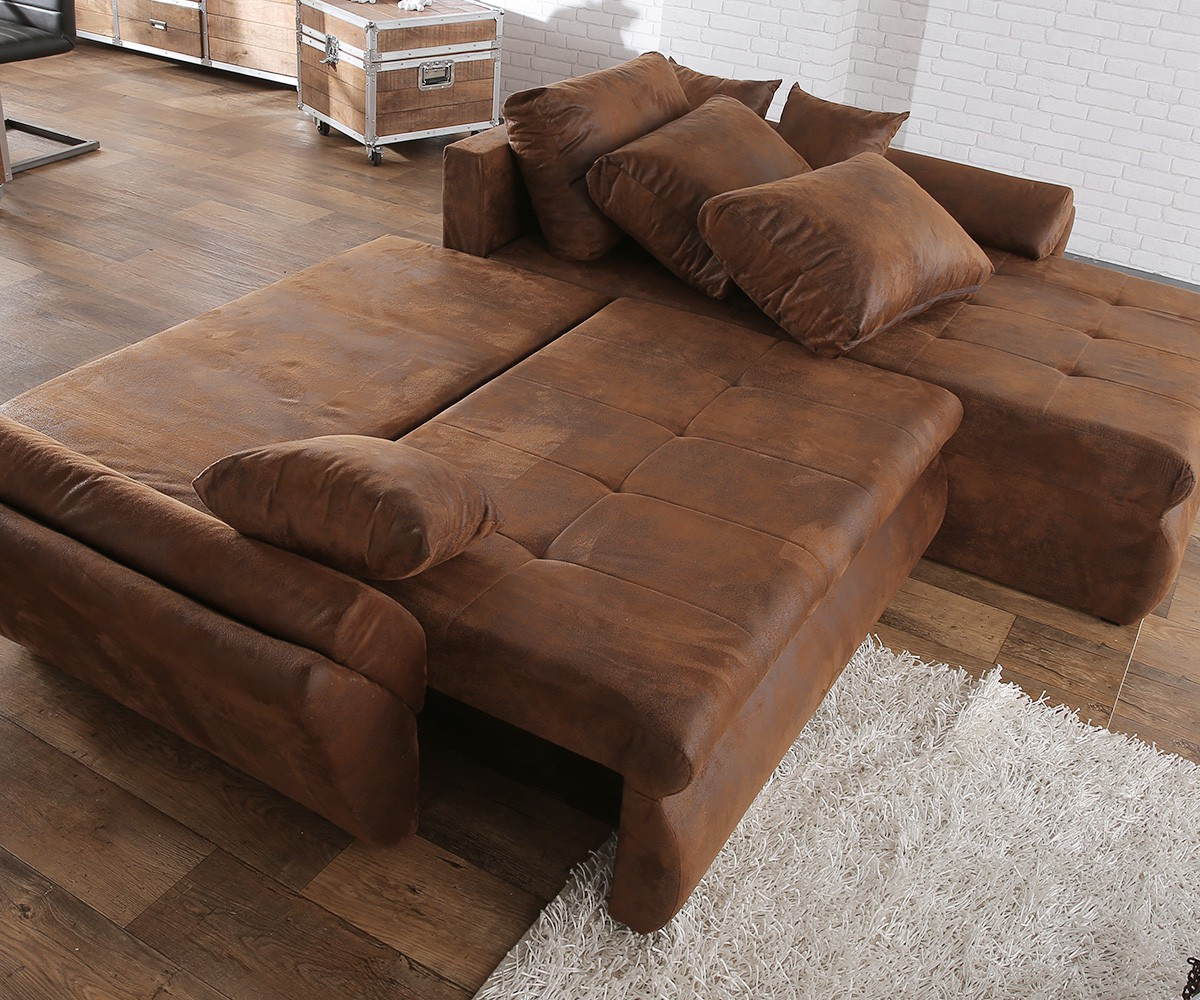 Ecksofa mit schlaffunktion braun  Ecksofa Loana 275x185 cm Braun mit Schlaffunktion Möbel Sofas Ecksofas