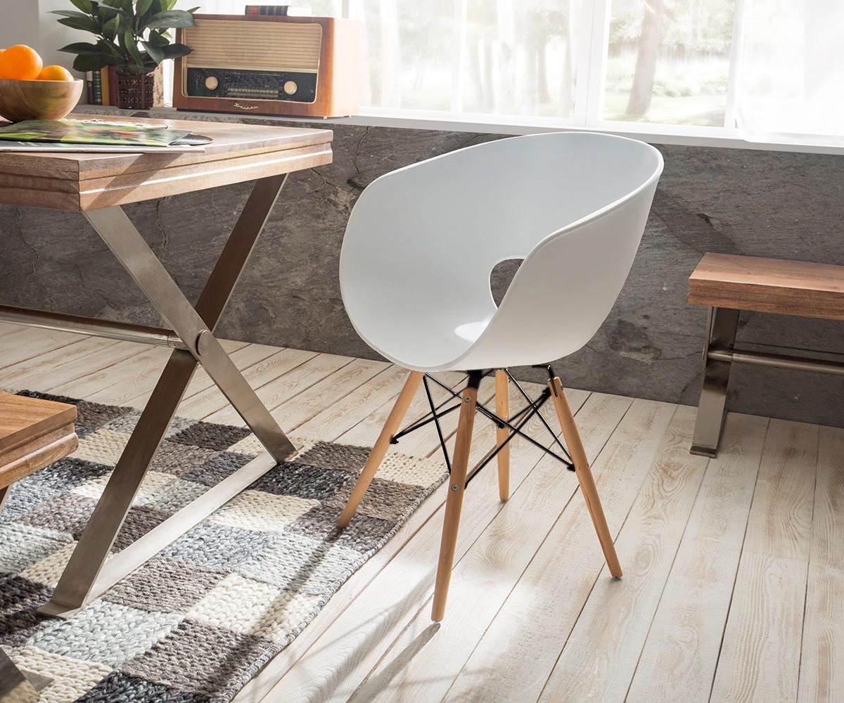 esszimmerstuhl ofrael weiss matt metall schwarz buche. Black Bedroom Furniture Sets. Home Design Ideas