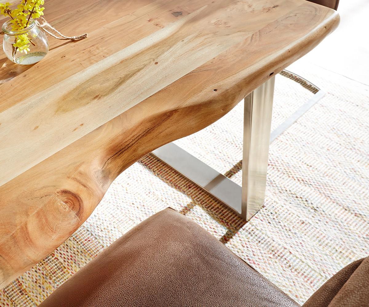massivholztisch live-edge akazie natur 140x90 platte 5cm gestell