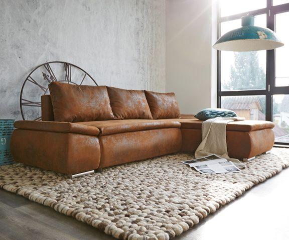 Hoekbank Abilene 260x175 cm bruin ottomane variabele 2