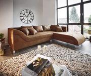 Couch Cadiz Braun 261x204 Antik Optik Keder Ottomane Rechts Ecksofa [9741]