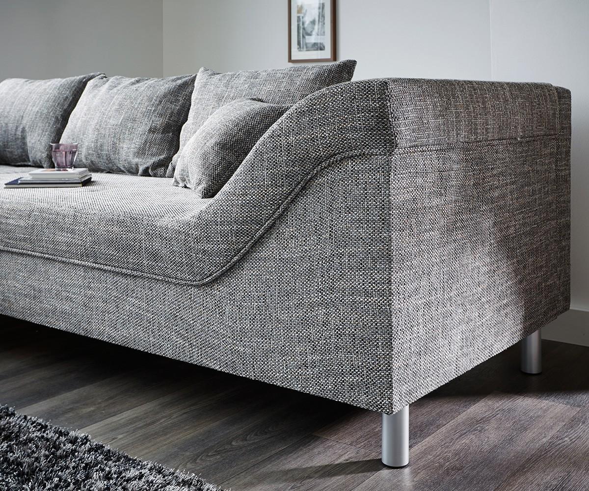 couch mit ottomane delife couch eden 290x205 grau. Black Bedroom Furniture Sets. Home Design Ideas