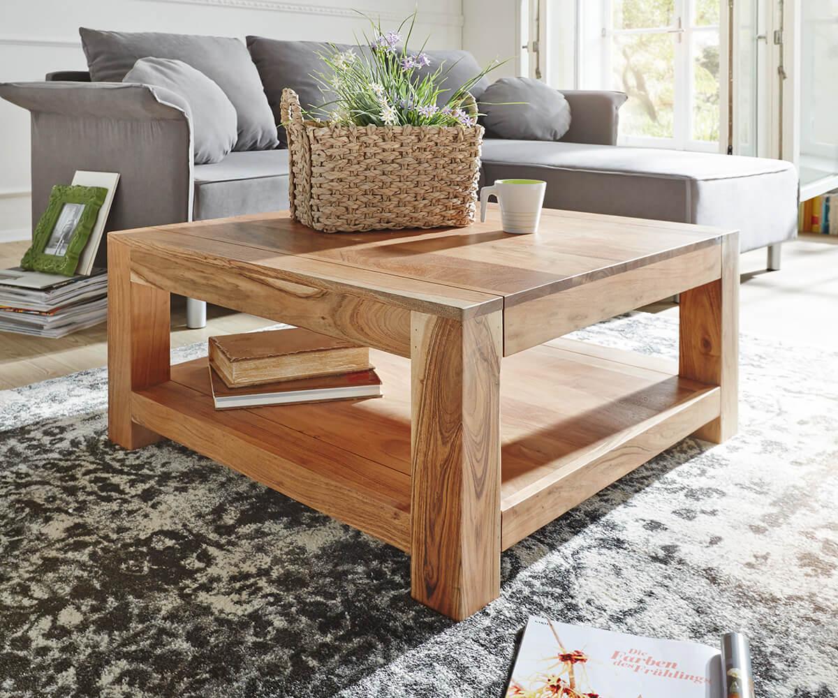 Couchtisch Indra Akazie Natur 80x80 Massivholz Ablage Möbel Tische