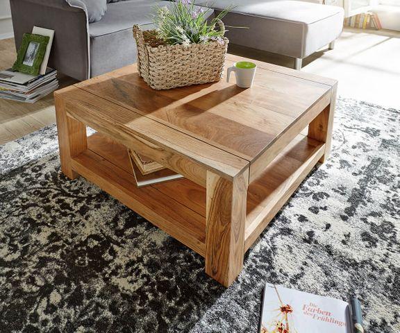 Salontafel Indra acacia natuur salontafel 80x80 massief houten legger  2