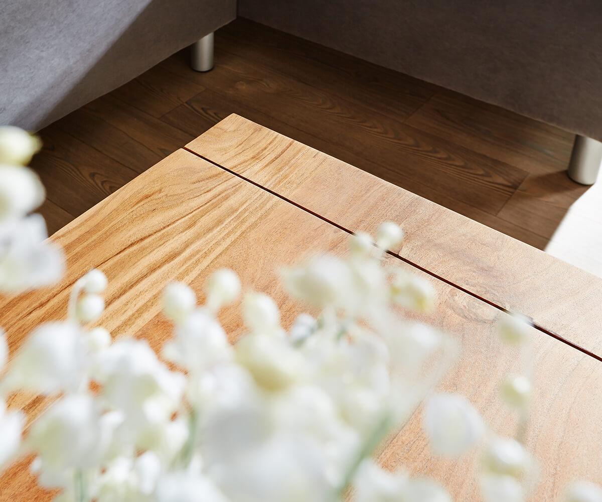 Wohnzimmertisch Indra Akazie Natur 120x70 Cm Massivholz Mit Ablage  Couchtisch [9824]